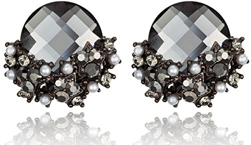 [Elegant Black Diamond Color Rhinestone with Star-Shaped Cluster Post Earrings] (Dancing With The Stars Costumes Designs)