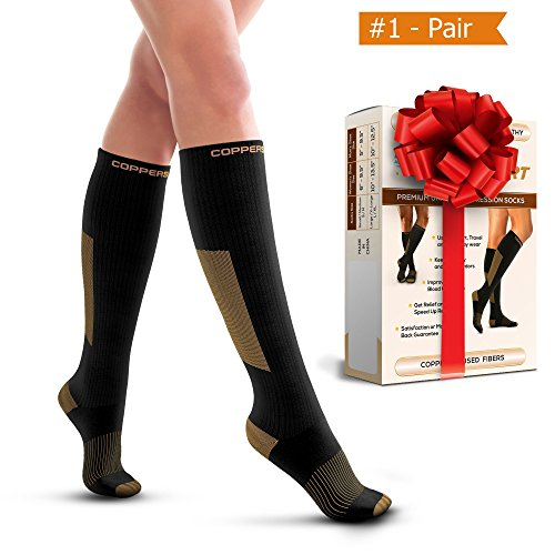 Compression Socks for Men & Women – Great For Sports – Running, Fitness, Exercises, Training, Jogging, Flight Travel – Better Results With Copper Support & Fast Recovery – Pair