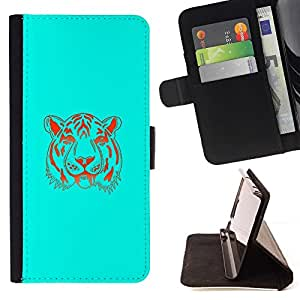 Momo Phone Case / Flip Funda de Cuero Case Cover - Neon Blue Tiger;;;;;;;; - Samsung Galaxy Note 3 III