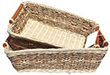 ShopOnNet RT450180-2 Handwoven Retangular Wicker Storage Basket Handle in Cream Brown (Set of 2)