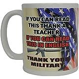Thank a Veteran Military Veteran Coffee Mug USA Flag American Novelty Cup Gift