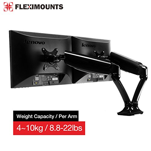 FLEXIMOUNTS M6H Heavy Duty Dual Arm LCD arm ,Full Motion Desk Mount with Swivel Gas Spring Monitor Arm,8.8-22 lbs Weight-bearing/per arm fit most 10