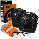 Ross Protection Professional Knee Pads for Work - Heavy Duty Gel Knee Pads + BONUS Leather Work Gloves and Safety Glasses - Perfect for Construction, Gardening, Roofing, Cleaning and DIY Projects