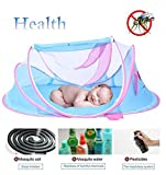 Sunnec Baby Travel Bed Portable Travel Crib, Folding Sleeping Mosquito Net Bed Infant Beach Tent with Baby Summer Soft Sleeping Mat Plays Music