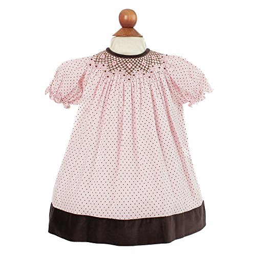 Baby Girl's Hand Smocked Darling Polka-dot Dress - Baby Pink w/Brown Trim, 9M