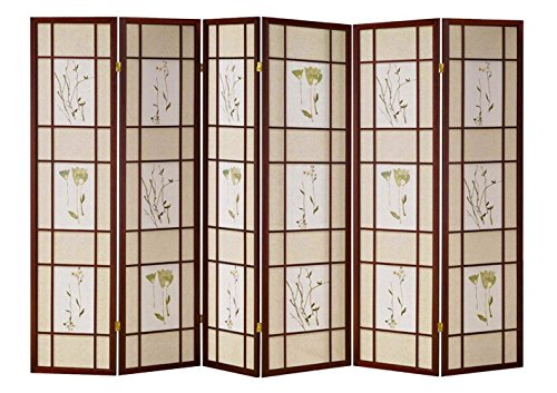 Hongville Shoji Floral Prints Screen Design Wood Framed Room Divider, Cherry, 6 Panel (Wood Screen Shoji)