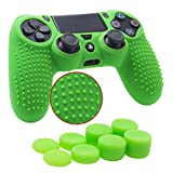 YoRHa Studded Silicone Cover Skin Case for Sony PS4/slim/Pro controller x 1(green) With Pro thumb grips x 8
