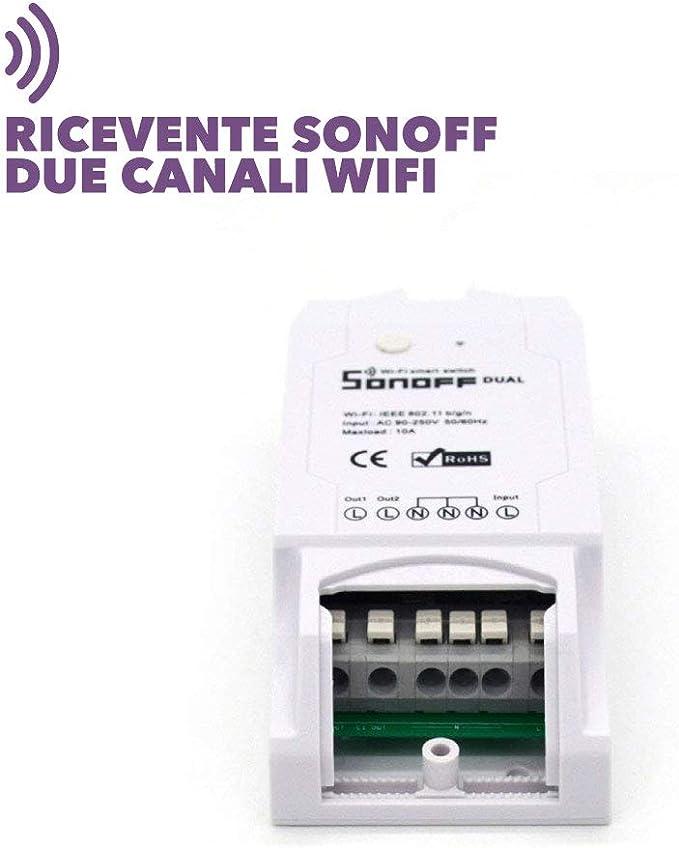 RICEVENTE DUAL SONOFF WIFI DOMOTICA TIMER LUCI CONTROLLO SERRANDA ANDROID//IOS