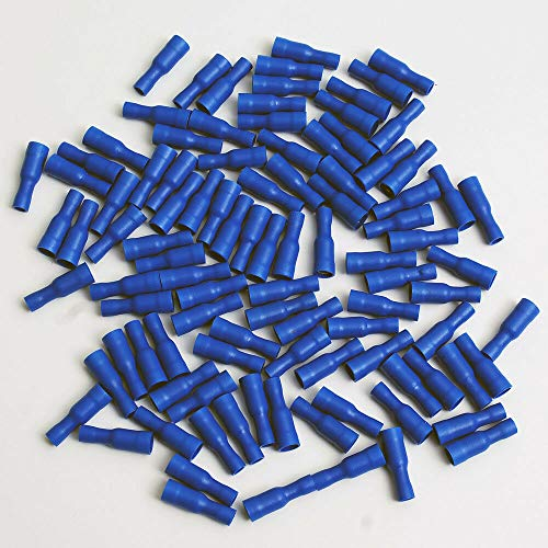 1000 Pack 16-14 Gauge Blue Female Bullet Connectors Fully Insulated Vinyl .156'