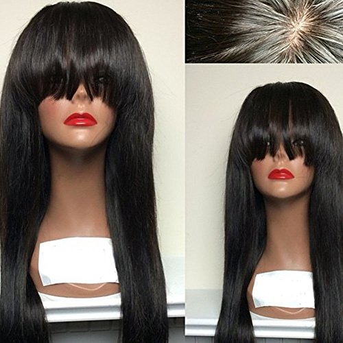 Aopus Hair Virgin Hair Human Lace Front Wig Brazilian Remy Human Straight Hair Lace Wigs with Baby Hair For African Americans Natural Color with Flat Bangs (16 Inch, 130% Density Lace Front Wig) by Aopus
