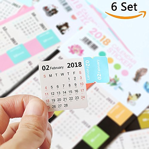 Bullet Journal Calendar Stickers Planner 2018 for Bullet Journal and Agenda,Self Adhesive Index Tabs Monthly Index Dividers Easy to Peel and Stick,15 Month 6 Set