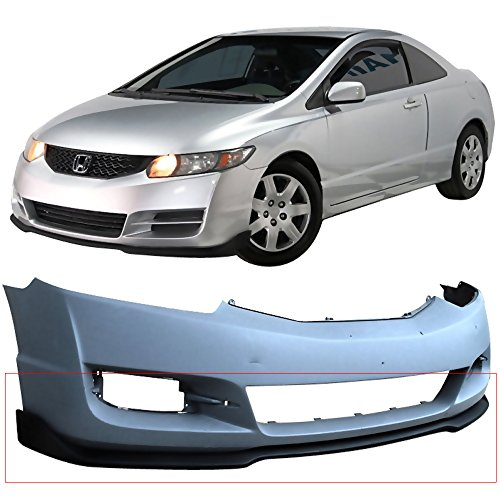 Front Bumper Lip Fits 2009-2011 Honda Civic   CS Style Black PU Front Lip Finisher Under Chin Spoiler Add On by IKON MOTORSPORTS   (Coupe Front Under Spoiler)