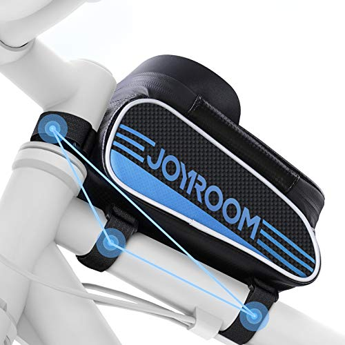 joyroom Bike Phone Mount Bag-Waterproof Bike Front Frame Handlebar Bag Bike Phone Holder Case Bicycle Accessories Pouch Sensitive Touch Screen Compatible with iPhone 11 XS Max XR 8 Plus Below 6.7