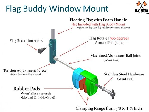 Flag-Buddy-Skier-Down-Flag-Holder-Flag-included-Orange-safety-flag-included-Tired-of-Holding-the-Skier-Down-Flag-Just-clamp-the-Flag-Buddy-to-your-window-and-rotate-it-up-when-required