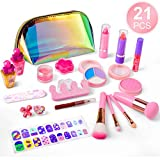 balnore 21 Pcs Washable Makeup Toy Set, Safe & Non-Toxic,Real Cosmetic Beauty Set for Kids