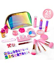 balnore Maquillaje Conjunto niños 21 Piezas Lavable Maquillaje cosmético Set niñas Juego de rol Regalos de Juguete para los niños de 3 años