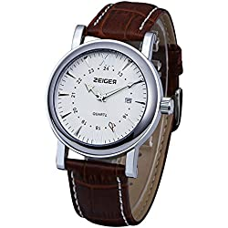 Zeiger New Fashion Mens Classic Luxury Casual Analog Wrist Watch with Brown Leather Band (Luminous Pointer)