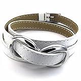 AnaZoz Stainless Steel Silvery Charm Bangle White Bracelet Love Leather Men's Jewelry