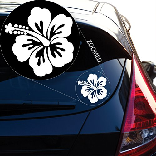 """ICONIC Hibiscus Flower Hawaiian Decal Sticker for Car Window, Laptop and More. # 619 (4"""" x 4"""", White)"""