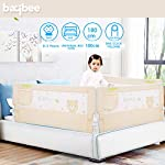 Baybee Bed Rail Guard for Baby Safety-Portable and Foldable Full Bed Rail for Kids (180×63 cm, Beige) Pack of 1