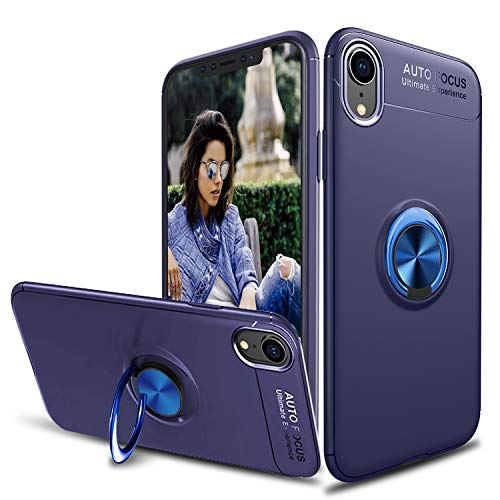 Tevero Soft iPhone Xs Max Case, [Ring Series] Ultra Slim 360 Degree Rotating Ring Kickstand with Magnetic Shockproof Protective Phone Case Cover Compatible with iPhone Xs Max (2018) 6.5 inch (Blue)