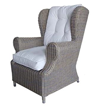 Ordinaire Amazon.com: Padmau0027s Plantataion Outdoor Wing Chair, Kubu With White Outdoor  Cushion: Kitchen U0026 Dining