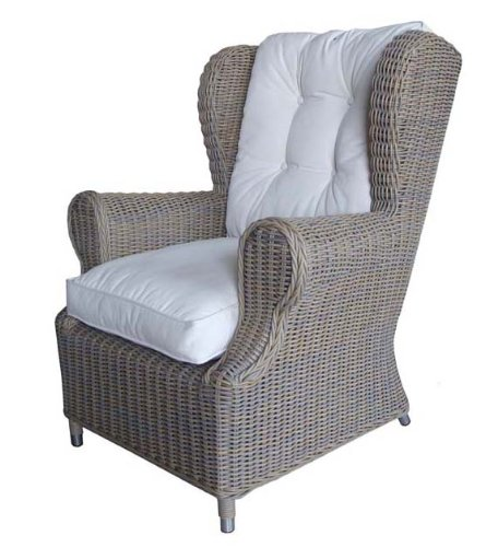 Padma's Plantataion Outdoor Wing Chair, Kubu with White Outdoor Cushion