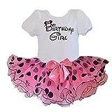 Birthday Girl T-Shirt with Polka Dot / Flower Design Tutu 2 pcs Set (Age 2, Pink/blk)