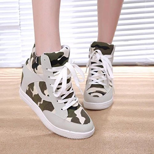 Boot Top Ladies Canvas Womens Beige High Shoes Increased Height Casual Shoes Inkach zqY4z
