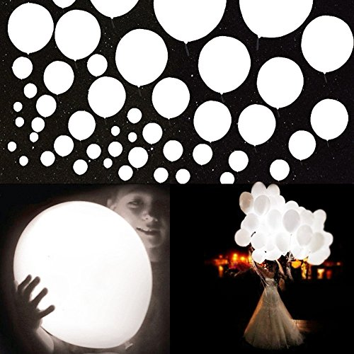 20Pcs LED Light up Balloons 12 Inch Latex Multicolor Lights Helium Balloons Christmas Halloween Wedding Decoration Birthday Party Supplies (White) (Led White Balloons)