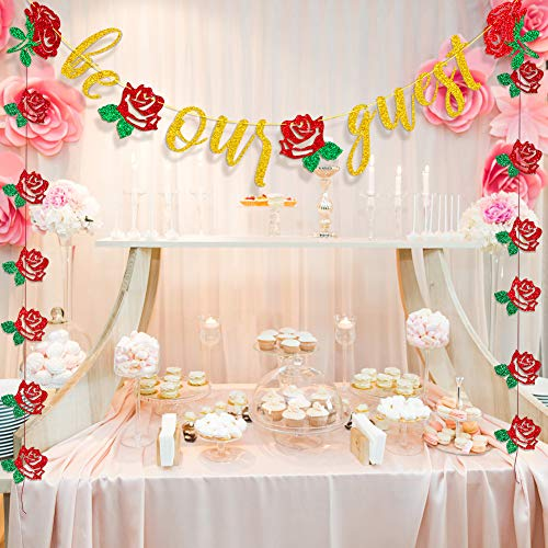 Be Our Guest Banner Beauty And The Beast Party Supplies Bachelorette Engagement Bridal Shower Baby Shower Birthday Party Favor Supplies -