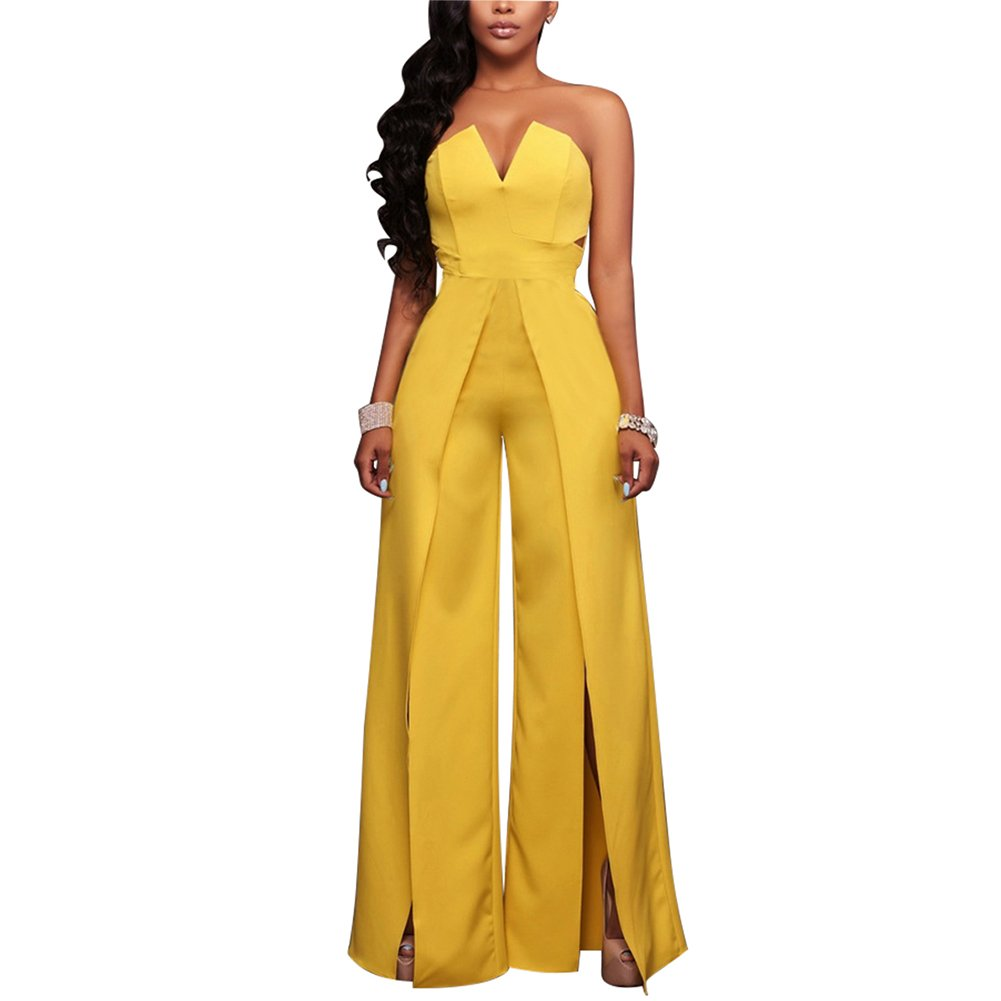 Women's Sexy Tube Top Strapless Split Wide Leg Jumpsuits Rompers Without Belt Yellow L