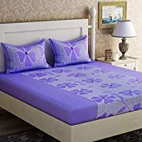 Urban Home Glace Cotton King Size Double Bedsheet (Multi_Set of 1 Bedsheet and 2 Pillow covers)