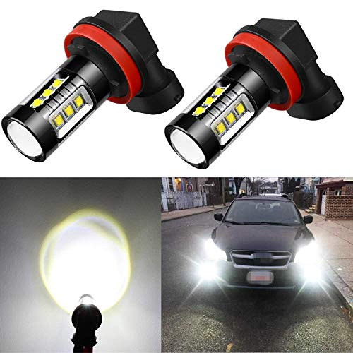 Alla Lighting Extreme Super Bright H11 LED Bulb Fog Light High Power 80W Cree 12V LED H11 Bulbs for H8 H111 H16 Fog Light Lamp Replacement, 6000K Xenon White (Set (Buick Fog Light Bulb)