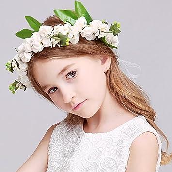 Kercisbeauty Rustic Wedding Flower Girl Bridesmaids Kid Child Flower Crown  Rose Blossom Flower Leaf Leaves Asymmetric 648973463e7