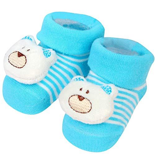 (Kasien Baby Shoes Socks, Newborn Baby Boys Girls Cartoon Eyes Floor Socks Anti-Slip Baby Step Shoes Socks (Blue))