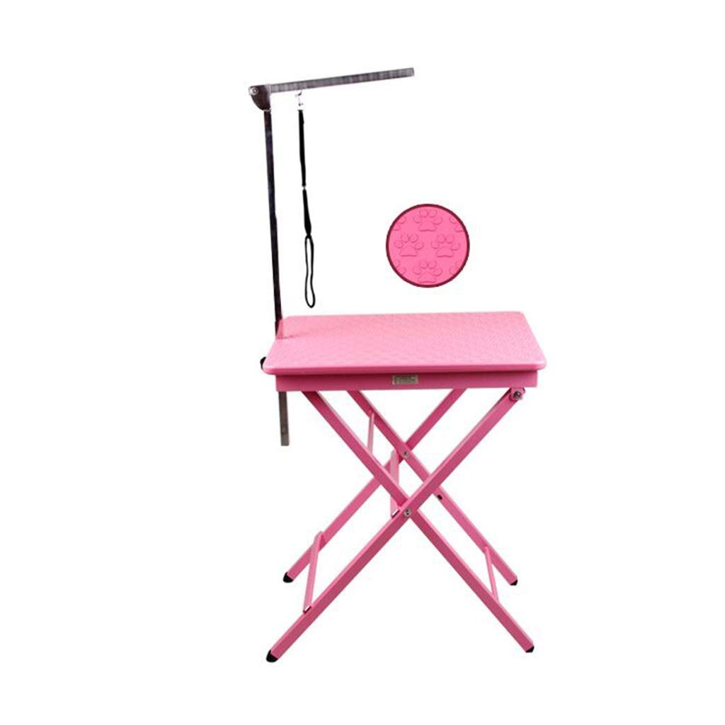 SN Adjustable Foldable Dog Grooming Table, Non-Slip Surface Pet Supplies for Grooming Small and Medium Pets (Color : Pink)