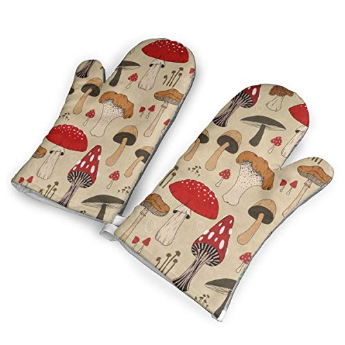FFFaQart The Various Mushroom Art Oven Mitts,with The Silicone and Flexibility of Cotton,Recycled Cotton Infill,Terrycloth Lining,480 F Heat Resistant Pair.