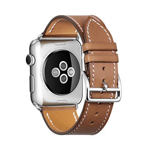 iStrap Compatible/Replacement for Apple Watch Band 38mm 42mm 40mm 44mm Leather Strap Adapter Replacement Series 4 Series 3&2&1 Edition Sport