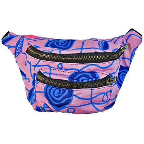 Price comparison product image Floral Fanny Pack, Stylish Party Boho Chic Handmade with Hidden Pocket by Santa Playa (Papaya) (Blue Rose)