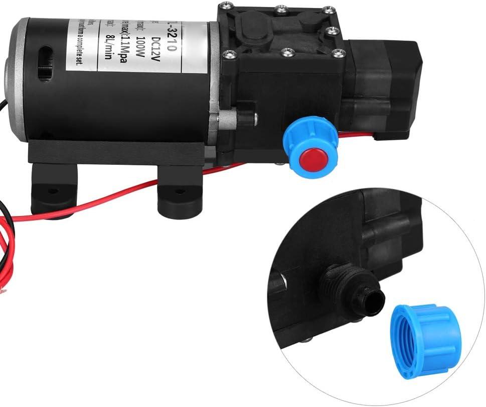 pompe /à eau /à amor/çage automatique du diaphragme /à haute pression 12V DC 100W 8L//Min 160Psi avec 2 colliers de serrage pour la pompe de surpression darrosage de pelouse de jardin /à Pompe /à eau douce