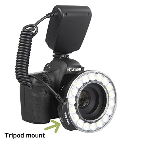 CameraPlus - Innovation off -camera 360 degree shooing - Universal Macro 18 Large LED Ring Flash With 4 colors ring diffusers + 8x Adapter Rings (49mm, 52mm 55mm, 58mm, 62mm, 67mm, 72mm, 77mm) for Canon, Nikon, Olympus, Pentax cameras (continuous light and flash support)