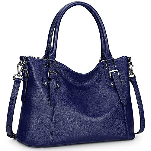 S-ZONE Women's Vintage Genuine Leather Tote Large Handbag Crossbody Bag Work Shoulder Purse with Zipper Pocket Outside (Large-Blue)