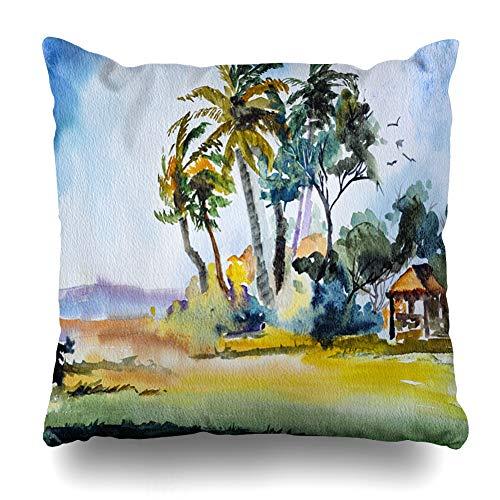 Ahawoso Throw Pillow Cover Horizon Blue Beach Original Watercolor Painting Tropical Hut Scene Parks Palm Florida Sketch Miami Zippered Pillowcase Square Size 18x18 Inches Home Decor Pillow Case (Florida Victor Park)