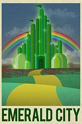 Laminated Emerald City Retro Travel Art Print