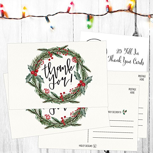 25 4x6 Blank Christmas Holiday Thank You Postcards Bulk, Cute Modern Fancy Winter Note Card Stationery For Wedding Bridesmaids, Bridal or Baby Shower, Teachers, Appreciation, Religious, Business Cards Photo #2