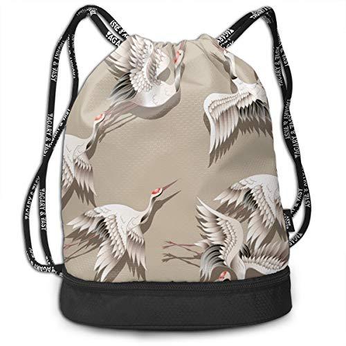 Bulk Drawstring Backpack, Lightweight Gym Sport Bundled Bag Wet Dry Separated Yoga String Cinch Tote Bag Multipurpose Casual Bag For Adult Kids - Crane -