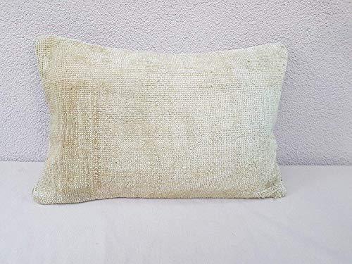 Antique Oushak Rug - Bohemian Shabby Chic Cottage Decor Boho Wool Oushak Rug Pillow, Antique Kilim Pillow Cases, 19 Century Woven Cushion Case, Faded Color Turkish Kilim Throw Pillow Cover 16'' x 24'' (40 x 60 Cm)