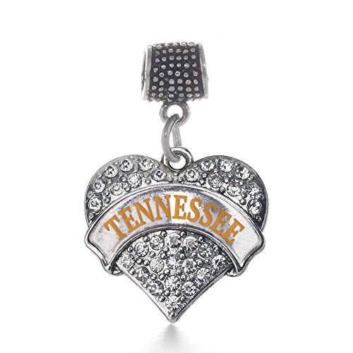 Tennessee Heart Charm - Inspired Silver - Tennessee Memory Charm for Women - Silver Pave Heart Charm for Bracelet with Cubic Zirconia Jewelry