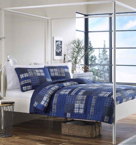 Eddie Bauer Eastmont 3 Piece Cotton Reversible Quilt Set, King, Blue
